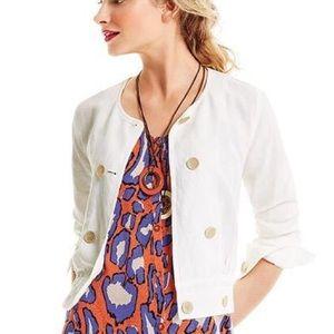 CAbi Piazza Linen White Jacket